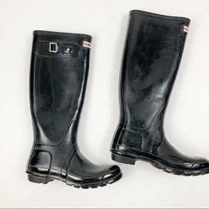 Hunter Black Glossy Rubber Rain Womens Boots 7